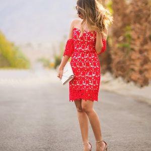 J.O.A REVOLVE off the shoulder red dress